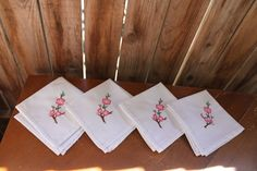 White Floral Napkins Vintage 1960's Mid Century Embroidered Pink Flowers Set of 4 Table Linen Napkins Entertaining Serving Holidays Weddings by RustiqueTreasurz on Etsy https://www.etsy.com/listing/507811596/white-floral-napkins-vintage-1960s-mid