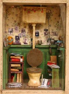 Miniature Bachelor Bathroom; 1:12 scale - Room in House