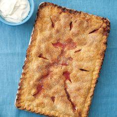 Strawberry-Rhubarb Slab Pie Rhubarb Pie, Rhubarb Recipes, Pie Recipes, Dessert Recipes, Rhubarb Dishes, Red Rhubarb, Fruit Recipes, Easy Recipes, Dessert
