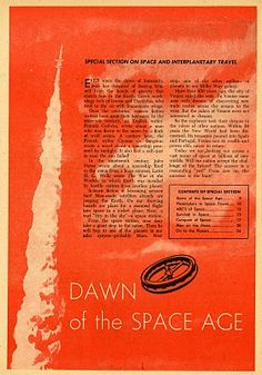 """""""Dawn of the Space Age"""" -- a special section in the March 1958 edition of Junior Scholastic."""