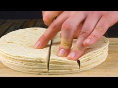 Stack 10 tortillas and cut into 4 strips. Stack 10 tortillas and cut into 4 strips. Meat Recipes, Mexican Food Recipes, Appetizer Recipes, Appetizers, Tortilla Casserole, Tortilla Pan, Bundt Cake Pan, Bundt Pans, Pancake