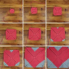 Free crochet pattern to make a heart square. Perfect for a pillow or afghan…
