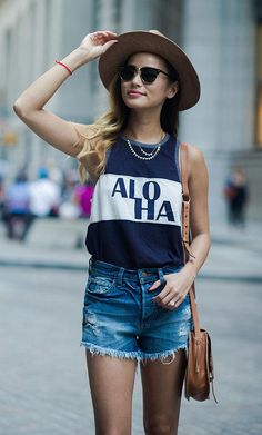 Jamie Chung's cutoff cool calls for a graphic tank, tucked in