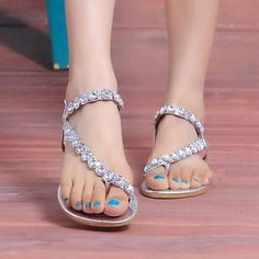 1eb9dba3ead64 Woman Flat gladiator Sandals flip flops wedding crystal diamond rhinestone  silve