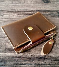 Key holder made of genuine leather, handmade production, brown color (made in 4 colors). Can hold keys, cash, cards and coins. Perfect gift available on our Etsy shop Leather Accessories, Keys, Etsy Shop, Wallet, Brown, Colors, How To Make, Handmade, Gifts