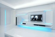 White gloss blue light futuristic star trek