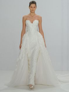 Mark Zunino for Kleinfeld Fall 2017 strapless sweetheart crepe column wedding dress with detachable ball gown and 3D texture
