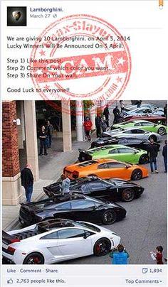 Νέο Scam στο Facebook υπόσχεται 10 Lamborghini  - Μια νέα απάτη στο Facebook υπόσχεται 10 Lamborghini. Ναι, καλά διαβάσατε, τόσες πολλές. Υπάρχουν πολλές σελίδες Lamborghini στο Facebook που έχει συσταθεί από οπαδούς της διάσημης μάρκας αυτοκινήτων. Υπάρχουν όμως μερικές που είναι απλά είναι σχεδ�