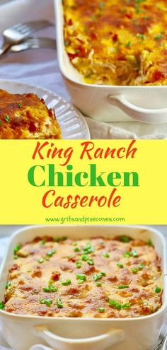 Classic King Ranch Chicken Casserole aka Mexican Chicken Casserole or King Ranch Casserole is an easy, make-ahead, delicious entrée loaded with melty cheese, yummy tomatoes, spicy peppers and green chilies and juicy chicken sandwiched between layers of corn tortillas. It's also perfect for Cinco de Mayo! #cincodemayo, #cincodemayorecipes, #cincodemayofood
