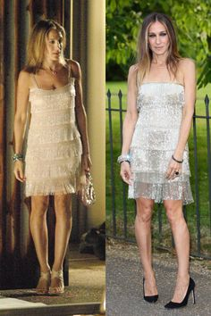50 Times Sarah Jessica Parker Dressed Like Carrie Bradshaw in Real Life - Sarah Jessica Parker Style Carrie Bradshaw Outfits, Estilo Carrie Bradshaw, Sarah Jessica Parker, City Outfits, Fashion Outfits, Fashion Idol, Vestidos Neon, Image Mode, Simple White Dress