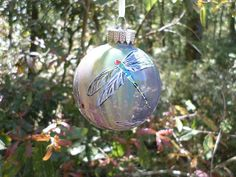 Dragonfly Glass Ornament hand painted green by ADragonflysFancy, $12.00