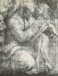 Pythagoras, detail from the cartoon for the 'School of Athens', 1510-11 (pencil & chalk on paper), Raphael (Raffaello Sanzio of Urbino)
