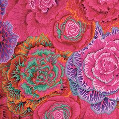 Designed by Philip Jacobs for Free Spirit Fabrics, Kaffe Fassett Brassica Red fabric is great for quilting, apparel and home decor. Fabric Design, Pattern Design, Flower Drawing Images, Ornamental Cabbage, Free Spirit Fabrics, Cotton Quilting Fabric, Patchwork Quilting, Quilt Kits, Images Google
