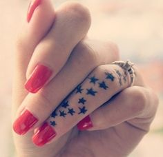 Stars tattoo on finger, continuation from ones on my arm. 99 Awesome Tattoos for Women – Part I | Tattoos Mob