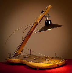 Steampunk Custom Hand Made Unique Desk Table Office Guitar Lamp   eBay