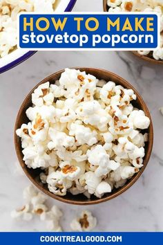 Learn how to make stovetop popcorn easily and say goodbye to those bags of microwave popcorn forever. Cooking popcorn on the stove is effortless and cost effective. It's a blank canvas too - choose from many different topping combinations like classic salt and butter, or try something different by sprinkling some nutritional yeast on top. Lunch Snacks, Savory Snacks, Healthy Snacks, Cooking Popcorn, Microwave Popcorn, Perfect Popcorn, Snacks Recipes, Blank Canvas, Nutritional Yeast