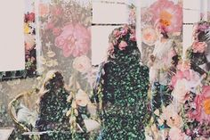 double exposure blooms and people