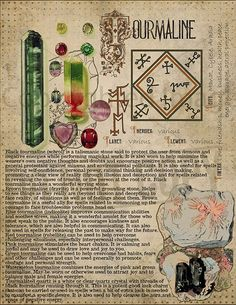 // Tourmaline, Book of Shadows printable page. Wiccan Spells, Magic Spells, Witchcraft, Crystals And Gemstones, Stones And Crystals, Alchemy, Grimoire Book, Crystal Magic, Practical Magic