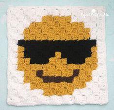Sunglasses Emoji C2C crochet square and pixel graph