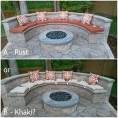 """Obtain great ideas on """"outdoor fire pit designs"""". They are actually accessible f… Obtain great ideas on """"outdoor fire pit designs"""". They are actually accessible for you on our site. Fire Pit Seating, Backyard Seating, Backyard Patio Designs, Diy Fire Pit, Fire Pit Backyard, Diy Patio, Paver Fire Pit, Concrete Fire Pits, Concrete Patios"""