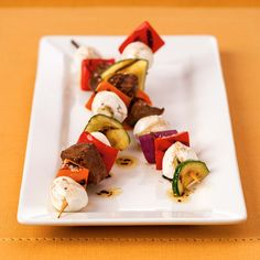 Fresh Mozzarella Skewers with Lemon Marinated Steak. This weekend, fire up the grill and make these fresh mozzarella skewers with marinated steak the whole family will enjoy.