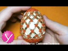 ▶ Бисероплетение - плетение пасхального яйца - YouTube