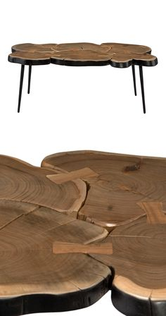 Our earthy Hemlock Coffee Table makes a bold but versatile statement. Made of solid wood and iron, this piece gives a modern touch to the traditional wooden tabletop with its fused circular slabs of ac...  Find the Hemlock Coffee Table, as seen in the The Dark Side of Mid-Century Collection at http://dotandbo.com/collections/the-dark-side-of-mid-century?utm_source=pinterest&utm_medium=organic&db_sku=119321