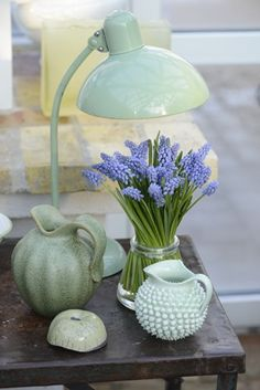 Muscari with green lamp and pottery - styling and photography by Claus Dalby