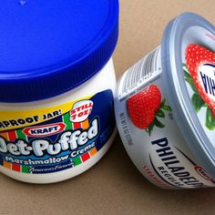 one jar of fluff mixed with one container of strawberry cream cheese = AWESOME DIP!