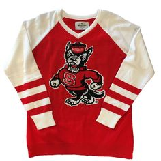 NC State Wolfpack Red Strutting Wolf Women's V-Neck Sweater