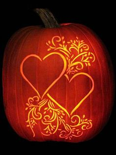Pumpkin with etched hearts and scroll