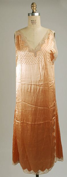 Silk and cotton nightgown, circa 1930
