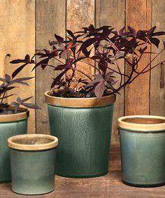 Baxter Ceramic Cachepot -Steel Blue - Planters