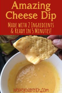 Amazing Cheese Dip that is made in only 5 minutes or less and uses 2 common ingredients. It's sure to impress guests or family and requires very little prep! #LiveLikeYouAreRich