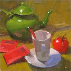 "Daily Paintworks - ""Tomato Tea - 6x6"" by Carol Marine"