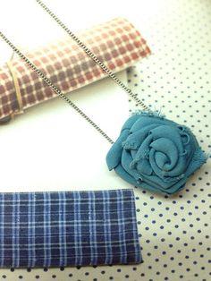 Fabric Textile Chiffon Rosette Rose Blue Pendant Charm by Shoimade