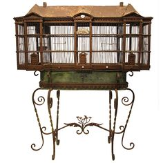 French birdcage on stand, century I can see my budgies in that Vintage Furniture Design, Deco Furniture, Modern Furniture, Antique Bird Cages, The Caged Bird Sings, Bird Feathers, Beautiful Birds, Bird Houses, French Antiques