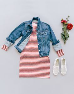 striped dress, denim jacket, white sneaks