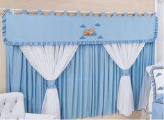 Cortina de Varão 2,20m. - Quarto Azul Home Curtains, Valance Curtains, Curtain Tie Backs, Drapery, Window Treatments, Baby Room, Blinds, Household, Baby Shower