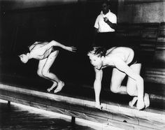 Photographer/Creator  G. M. Bist  Collection  1953  Publisher  Munro Press  Caption/Description  Olympic Team Swimimer Atholl Still and Olympic prospect Billy Good keep in training at their school pond in Aberdeen. Picture of both boys getting ready to dive into the water.