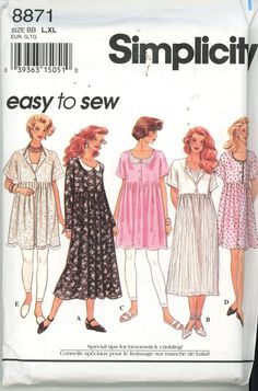 Vintage Misses Dress Baby Doll Sewing Pattern Simplicity 8871 Easy Sew  Size L, XL Uncut Rare