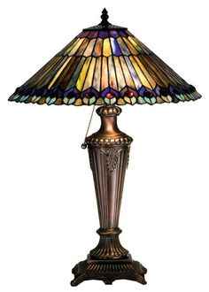 """Tiffany Jeweled Peacock 23"""" H Table Lamp with Empire Shade"""