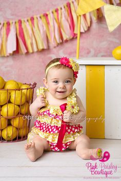 Pink Lemonade 1st Birthday- 3 pc SET- Yellow & Pink Baby Romper- Baby Girl Rompers -Ruffle Rompers - 1st Birthday Outfit - Sunshine Birthday