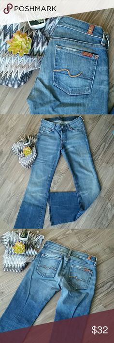 7 For All Mankind Flare Jeans 7 for All Mankind Flare Jeans. Barely worn!  96% cotton 4% Lycra. 25 inch waist.  32 inch inseam. 8 inch rise. 10 inch leg opening (flat).  Super cute and comfortable! 7 For All Mankind Jeans Flare & Wide Leg
