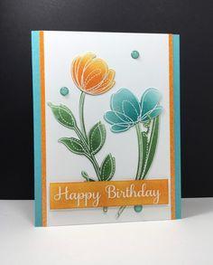 Spring Flowers: Simon Says Stamp, #SSSFAVE, embossing, sponging, flower sketch, by beesmom at splitcoast