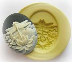 Lotus Dragonfly Cameo Mold Clay Resin Soap Mould. $7.95, via Etsy.