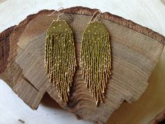 Olive Green & Gold Fleck Earrings by wildmintjewelry on Etsy