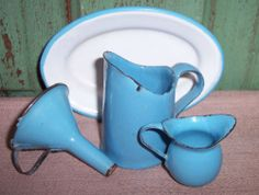 Vintage Salesman's Miniature Child's Enamel Graniteware Funnel Pitchers Platter