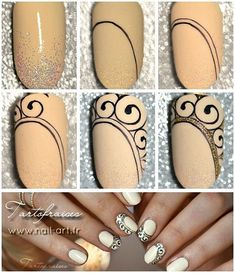 fr nail art nails, nail designs, nail a Diy Nail Designs, Acrylic Nail Designs, Acrylic Nails, Gel Nail, Easy Nail Art, Cool Nail Art, Nail Art Arabesque, Nail Art Vernis, Manicure E Pedicure