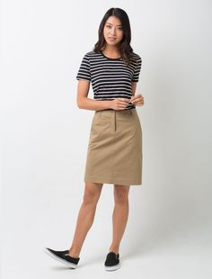 Cargo Crew's Todd Chino Skirt in Camel paired with Riviera Short Sleeve Top in Black Uniform Shop, Corporate Uniforms, Skirt Outfits, Fashion Pants, Work Wear, Street Style, Casual, Stripe Top, Skirts
